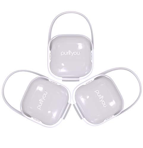 purifyou PurePouch Schnullerkoffer, Nipple Shield Tragetasche & Schnullerhalter Box | BPA-frei, ungiftig, tragbar | 3er-Set mit freiem Netzbeutel (3er-Set, Klares)