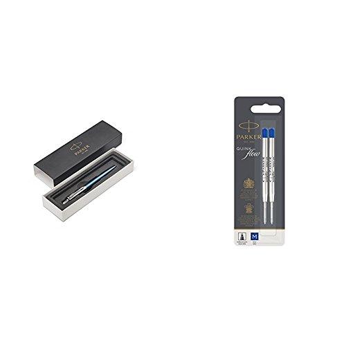 Parker Jotter Waterloo Blue C.C. - Kugelschreiber + Parker 1950373 Quinkflow Nachfüllmine für Kugelschreiber mit mittlerer Spitze, 2er Packung, blau