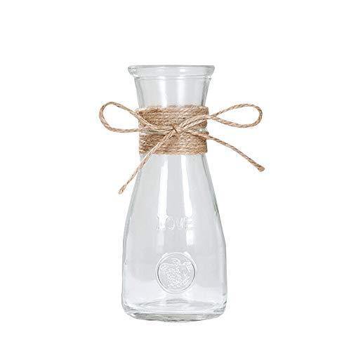 belupai Jarrones de Cristal nórdico, decoración de Mesa de salón o Sala de Estar, hidropónicos de Agua Transparentes, Cuerda de Flores, jarrón de Flores secas, A5, 17.5x7.3cm