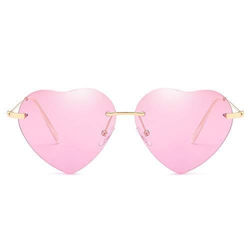 ZHAS High-End-Brille Herzförmige Sonnenbrille Metall Damenmode Randlos Klar Ocean Gläser Sonnenbrille Uv400 Personalisierte High-End-Sonnenbrille pink