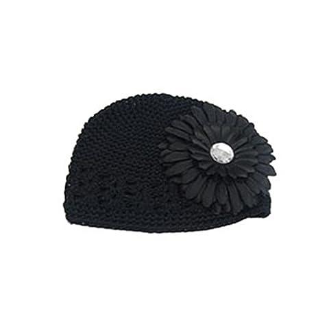 Bébé Bonnet au Crochet pour bébé avec fleur, couleur Noir 1 noir