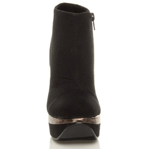Damen Hohen Absatz Plateau Kontrast Knöchelschuhstiefel Stiefeletten Größe Schwarz Wildleder mit Bronze