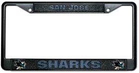 San Jose Sharks schwarz chrom Nummernschild Rahmen