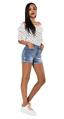 Crazy Age Damen Jeansshorts Basic in Aged-Waschung 5 Pocket Denim Classic Jeans Bermuda-Shorts Kurze Hosen aus Denim für den Damen Denim Kurze Hose mit Hotpants Shorts (38~M, Q 1840)