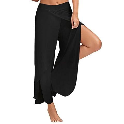 Reaso Super doux Taille large Leg Flowy Pants En vrac Casual Pantalon de yoga pour Femmes (Asie L, Noir)