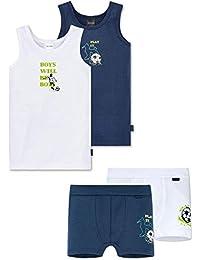 Schiesser Niños - Bagger & Grúa Conjunto de Ropa Interior 4 Teilig (Camiseta Interior + Shorts) Azul/Blanco