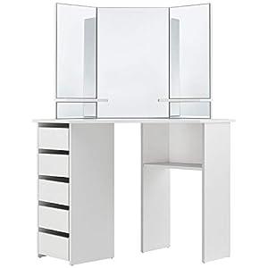 ArtLife Schminktisch Nova weiß modern | Frisiertisch mit Spiegel, Schubladen & Ablagefächern | Kosmetiktisch für Damen…