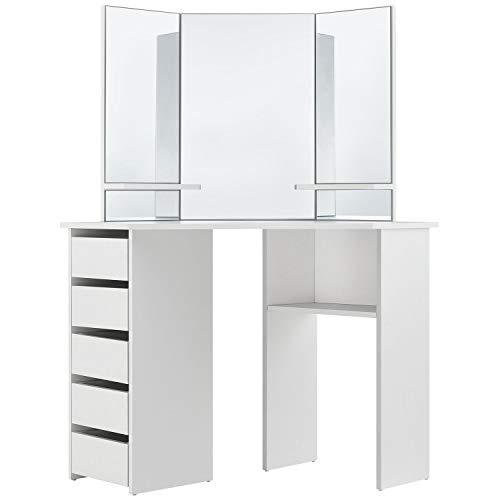 ArtLife Schminktisch Nova weiß modern | Frisiertisch mit Spiegel, Schubladen & Ablagefächern | Kosmetiktisch für Damen, Teenager & Mädchen (Make-up-tisch-spiegel)