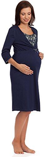 Be Mammy Damen Stillnachthemd BE20-102 (Dunkelblau/425804, L) (Nachtwäsche Die Mutterschaft)