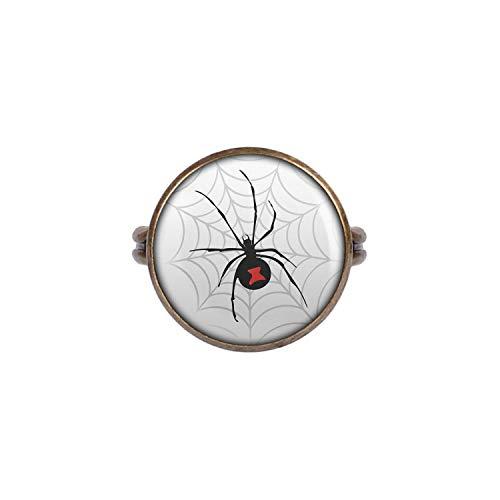 Mylery Ring mit Motiv Schwarze Witwe Spinne Netz bronze 16mm (Schmuck Itsy Bitsy)