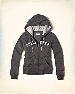 Hollister - Sudadera con capucha para mujer, gris claro, tamaño pequeño