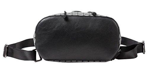 Gesteppt Taschen Volltonfarbe Umhängetasche Rucksack College Wind Handtasche Mode Persönlichkeit Wilden Black
