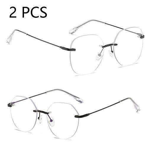 FZXHJ Anti-Blu-Ray-Brille, Computerschutzbrille, Weibliche Rahmenlose Strahlenschutz-Flachbrille Tide (2PCS),4