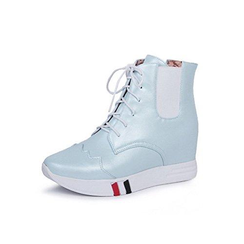 AllhqFashion Damen Weiches Material Rund Zehe Rein Knöchel Hohe Hoher Absatz Stiefel Blau