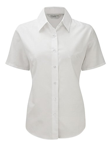 Russell Collection Womens Easycare Oxford Short Sleeve Shirt Blanc