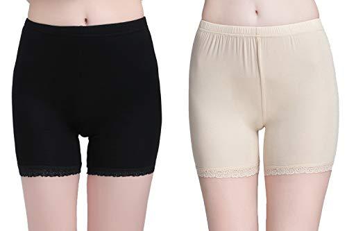 Vinconie Leggins Shorts Damen Tights Kurz Unterhose Baumwolle Blickdichte Leggings, 2 Pack: Schwarz & Beige, Small / (38 40) (Damen Petite Kleid Hose)