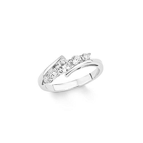 Amor Damen-Ring 925 Sterling Silber rhodiniert Zirkonia weiß 433334