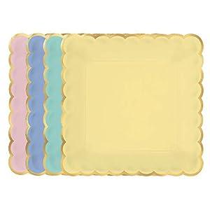 Amscan International Amscan 430843 - Platos de papel (25 cm, 8 unidades), color pastel metálico