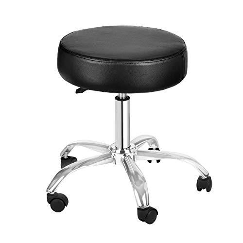 AdirMed Lux Höhenverstellung Hocker - Pneumatische Rollen Drehhocker - Vielseitig Mobility & Elevation (Schwarz) - 4 Zähler Höhe Stühle
