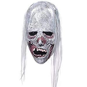 tex Horror Gruseliges Weißes Haar Maske ()