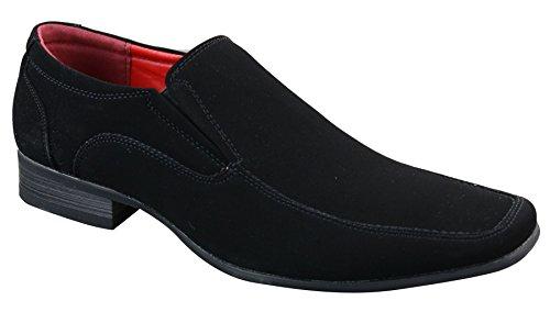 Mocassins homme simili daim velours noir bout carré sans lacets style chic tendance Noir