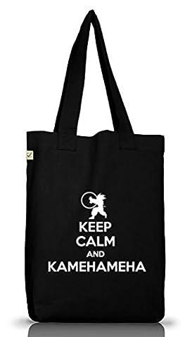 Serien Jutebeutel Stoffbeutel Earth Positive Keep Calm And Kamehameha, Größe: onesize,Black