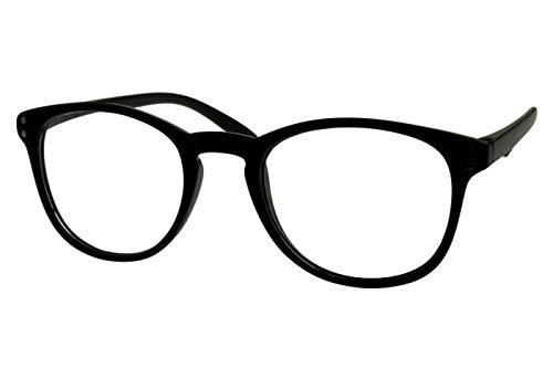 Lesebrillen Damen Herren schwarz matt große runde Gläser sehr leicht runde ovale Form schmale Bügel Lesehilfe Sehhilfe 1.0 1.5 2.0 2.5 3.0 3.5, Dioptrien:Dioptrien 3.0