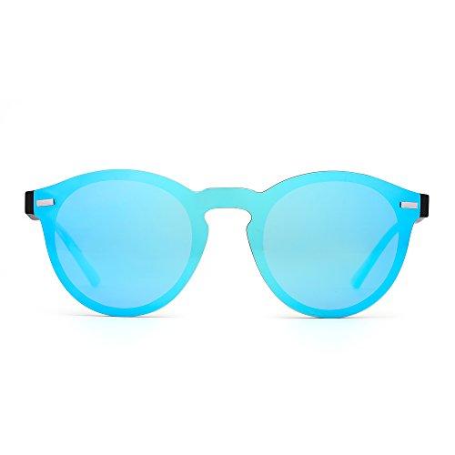 JIM HALO Polarisiert Randlos Sonnenbrille Reflektierend Ein Stück Runde Gespiegelte Brillen Zum Damen Herren(Matte Schwarz/Spiegel Blau)