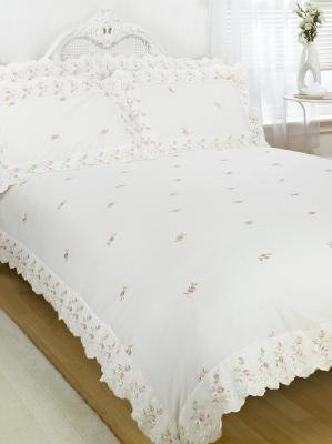 Sophie Floral Lace Trim Embroidered Duvet Quilt Cover Bedding Set, Polyester-Cotton, Cream, King