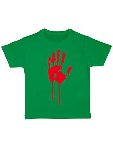 (clothinx Kinder T-Shirt Bio Halloween Bluthand Grün Größe 128)