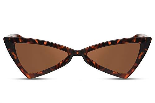 Cheapass Damen-Sonnenbrille Cat-Eye Schwarz Braun Leopard UV-400 Schmal Eckig-e Designer-Brille Plastik Frauen