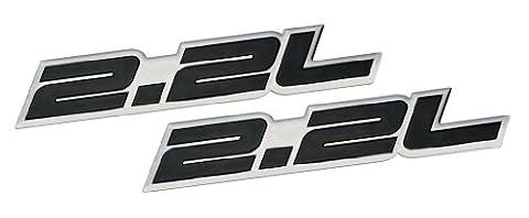 2 x (pair/Set) 2.2L Liter Embossed BLACK on Dodge Daytona IROC Shelby Lancer CSX GLH-S Charger Omni GLH Aries Spirit Phantom R/T Plymouth Horizon Reliant Chevy Chevrolet Cobalt LS HHR FWD Cavalier Malibu S-10 S10 Saturn Ion Ion-1 Vue GMC Sonoma SLS Ford Probe Ranger Pontiac Grand Am Sunfire SE Mercedes Benz C Class C-Class 200 Series Sedan coupe Wagon 2 3 4 5 2dr 3dr 4dr 5dr door hatchback turbo turbocharged