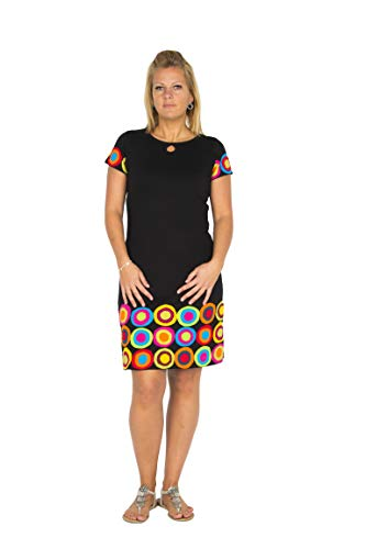 Gute Frauen Für Gute Laune (Ausgefallenes Gute-Laune-Kleid mit farbenfrohen Patchwork Details - Hippie Chic - 100% Baumwolle - Kush (L/XL))