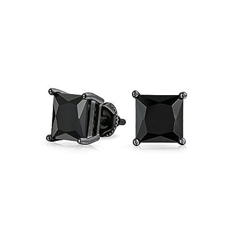 Bling Jewelry Bague argent Onyx simulées CZ Carrés Screw Back Stud Earrings