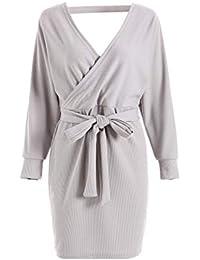 Silver Basic Femme Elégant Robe Pull Tricoté Col V Croisé Manche Longue  Robe Crayon avec Ceinture 95fccc4c1256