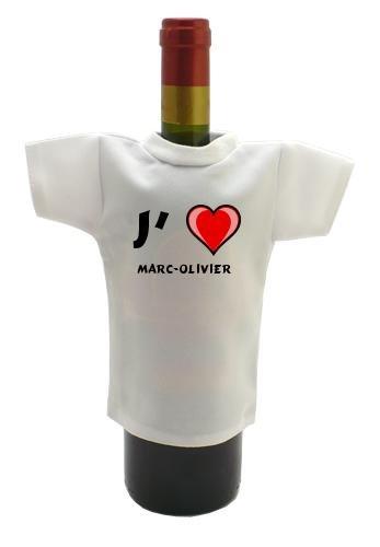Bouteille de vin T-shirt avec J'aime Marc-Olivier (Noms/Prénoms)