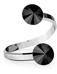 0e1d3e9a243c Crystals   Stones Rivoli - Anillo doble de cristal ajustable (plata de ley  925
