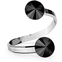 47a4859fa7c7 Crystals   Stones Rivoli - Anillo doble de cristal ajustable (plata de ley  925