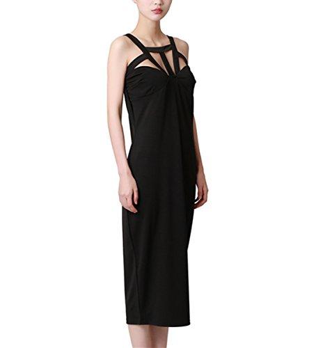LAEMILIA Femme Robe Débardeur Eté Sans Manche Dos Nu Sexy Uni Tunique Casual Robe Clubwear Rétro Vintage Noir
