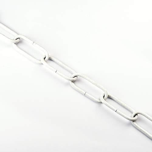 Eisenkette Stahl glatt Kettenglied oval Gliederkette Leuchtenkette 22x50x4 weiß weiss Lampenkette 4mm