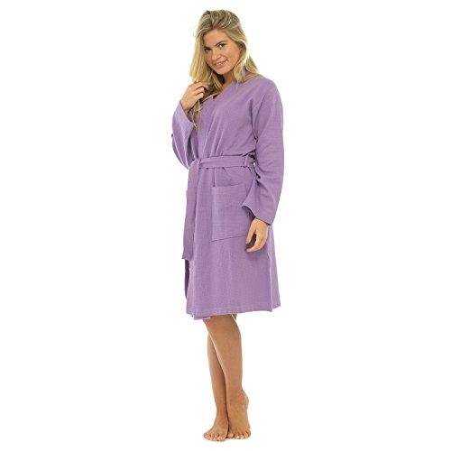 Dames 100% Coton Gaufré Peignoir Robe De Chambre Été Peignoir Enveloppant Robe De Chambre Lilas