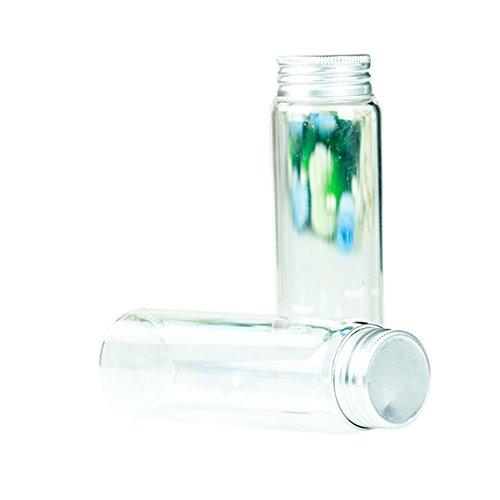 YouY® 2pcs 90ml Flacons de verre mignons clairs Bouteilles en verre Petites bouteilles avec bouchons à vis
