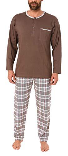 Herren Schlafanzug Pyjama mit karo Hose - Mix and Match Optik - auch in Übergrössen, Größe2:66, Farbe:braun