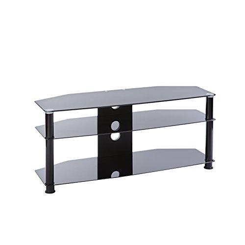 MMT Universal-TV-Ständer aus Glas, 115 cm, geeignet für LCD- / LED- / Plasma-Flachbildfernseher mit bis zu 55 Zoll (55 Zoll), Schwarz -