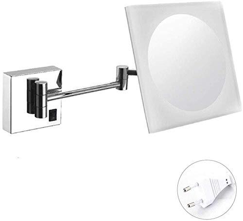 An Der Wand Befestigter Spiegel-Make-up-Rasierspiegel LED Mit Justierbarem Ausziehbarem Quadrat 3x Bestes Für Gebrauch Im Hauptbadezimmer Im Luxushotel Und Im Badekurort