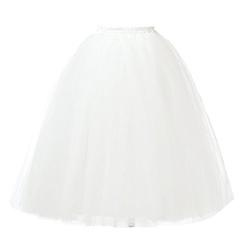 Dorchid Women ' s tutu gonna MIDI tulle gonne 7 strati sottoveste White