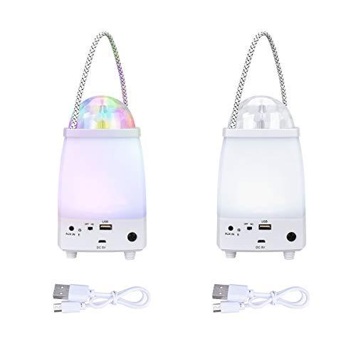 YoungRich 2PCS USB LED Bluetooth Lautsprecher Campinglampe mit 2 Lichtmodi Tragbare Party Licht Lichteffekte Licht Bühnenbeleuchtung Camping Laterne Zeltlampe fur Innen Außen 17.5x10.5cm 5V/220V Weiß