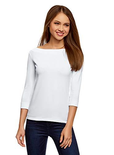 oodji Collection Damen T-Shirt mit 3/4-Arm, Weiß, DE 36 / EU 38 / S