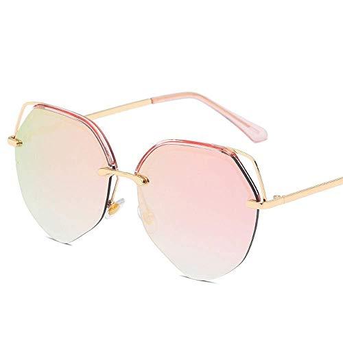 QYYtyj Sonnenbrille Katzenohren Mode Damen Metall Sonnenbrille Persönlichkeit Street Beat Farbfilm herzförmige Brille (Color : Pink)