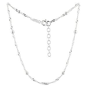 7K Fußkettchen, Fußkette, Singapurkette aus 925 Sterling Silber als Fußschmuck für Damen und Mädchen, Länge 22-25cm, Modell 21